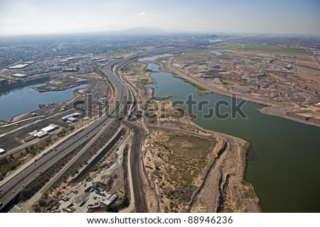 Aerial view of the Salt River from Mesa looking West toward the Tempe Town Lake
