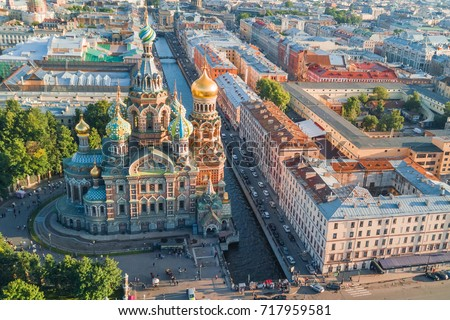 Aerial view of the Savior on Spilled Blood and the channel in Saint Petersburg, Russia