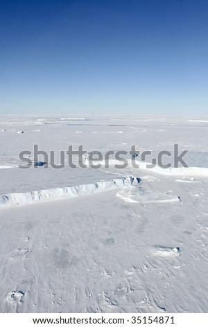 Aerial view of the sea ice in the Weddell Sea, Antarctica