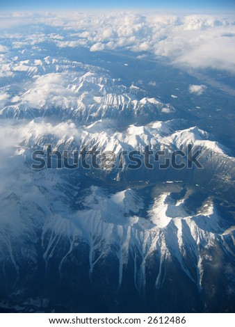 Aerial view of the Selkirk Mountains looking north from Golden, B.C.