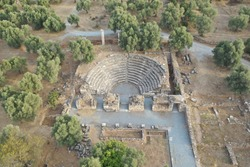 Aerial view of the senate building of the ancient city Nysa located in present Aydin, Turkey