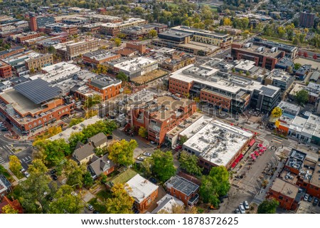 Aerial View of the Shopping and Dining Downtown Center of Boulder, Colorado Stock photo ©
