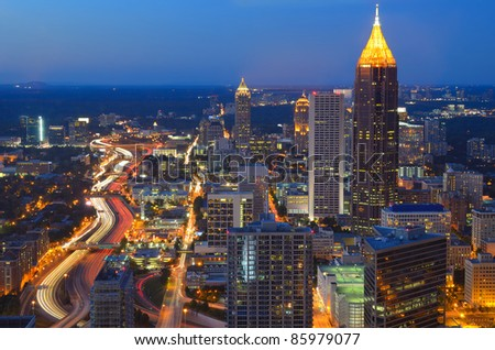 Aerial view of the skyline of downtown Atlanta, Georgia