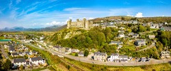 Aerial view of the skyline of Harlech with it's 12th century castle, Wales, United Kingdom.
