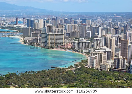 Aerial view of the skyline of Honolulu, Oahu, Hawaii, showing the downtown and hotels around Waikiki Beach and other areas