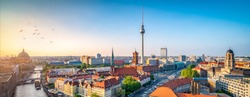 Aerial view of the skyline with television tower, Berlin, Germany