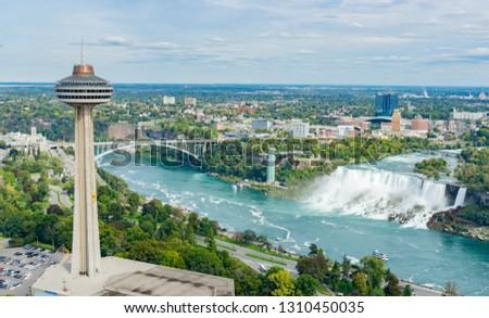 Aerial view of the Skylon Tower and the beautiful Niagara Falls at Canada #1310450035