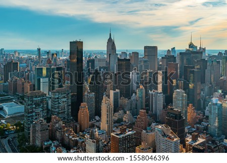Aerial view of the skyscrapers of Midtown Manhattan New York City Stock photo ©