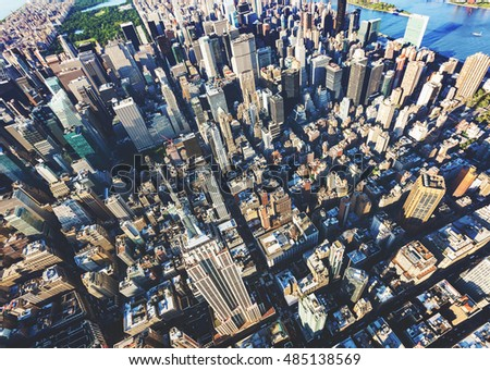 Aerial view of the skyscrapers of Midtown Manhattan New York City #485138569