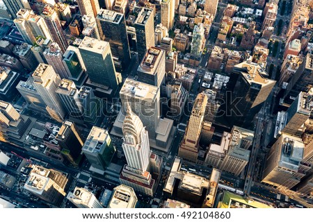 Aerial view of the skyscrapers of Midtown Manhattan New York City #492104860