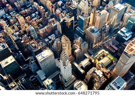 aerial view of the skyscrapers...