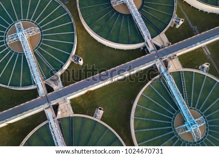 aerial view of The Solid Contact Clarifier Tank type Sludge Recirculation in Water Treatment plant