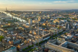 Aerial view of the Spire, O'Connell Street in Dublin, Ireland. Sunrise.