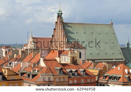 Aerial view of the St. John's Cathedral and the roofs of the Warsaw's old town.