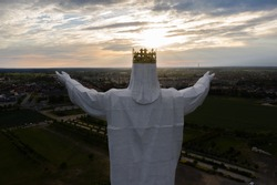 Aerial view of the statue of King Jesus Christ in Swiebodzin Poland