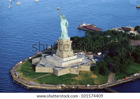 Aerial view of the Statue of Liberty, New York City, New York