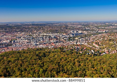 Aerial view of the Stuttgart (Germany) city center and surrounding aerea
