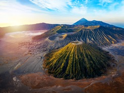aerial view of the sunrise at the vulcano bromo national park indonesia on the island java