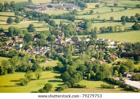 Aerial view of the Surrey village of Charlwood near Gatwick Airport.
