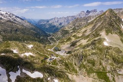Aerial view of the Susten pass between the Cantons of Bern and Uri in the swiss alps on a sunny summer day in Switzerland