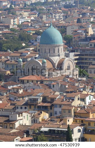 aerial view of the synagogue in Florence