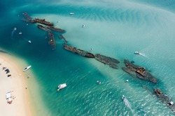 Aerial view of the Tangalooma ship wrecks