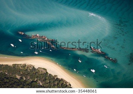 Aerial view of the Tangalooma Wrecks at Moreton Island, Queensland, Australia