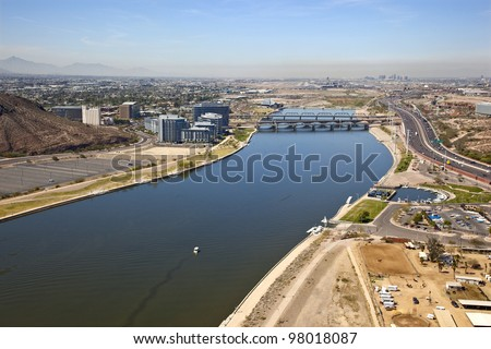 Aerial view of the Tempe Town Lake with downtown Phoenix, Arizona in the background