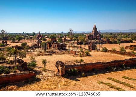Aerial view of the temple of Bagan, ancient city of Myanmar and UNESCO heritage site