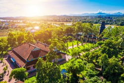 Aerial view of The Thien Mu Pagoda. It is one of the ancient pagoda in Hue city. It is located on the banks of the Perfume River in Vietnam's historic city of Hue. Travel and landscape concept