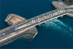 aerial view of the tidal power plant on the Rance in France