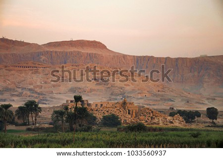 Aerial view of the Tombs of the Nobles, Located in the Theban Necropolis, they are the burial places of some of the powerful courtiers and persons of the ancient city, Thebes, Luxor, Egypt Stock photo ©