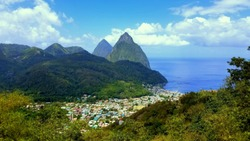 Aerial view of the town and twin peaks of Soufriere in St Lucia