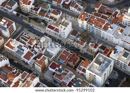 aerial view of the town of Lepe in Huelva, Andalusia, Spain