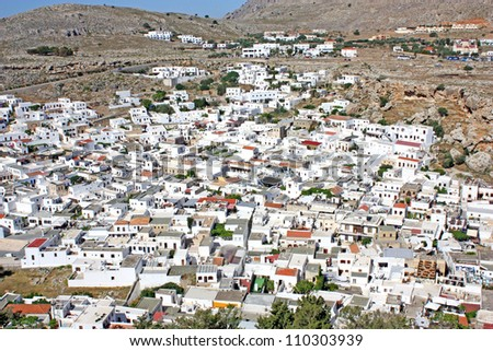 Aerial view of the town of Lindos, Rhodes Island, Greece