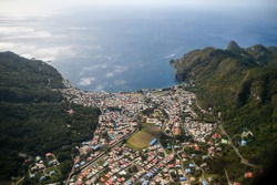 Aerial view of the town of Soufriere Saint Lucia