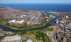 aerial view of the UK city of Sunderland