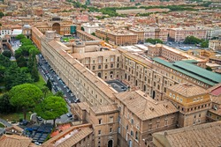 Aerial view of the Vatican museums buildings in Rome, Italy