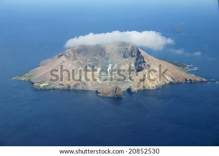 Aerial view of the volcanic island White Island off the coast of New Zealand