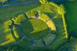 Aerial view of the Welsh town Caerleon in Wales, home of the Roman Amphitheatre