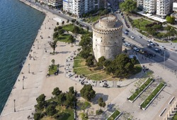 Aerial view of the White Tower square, in Thessaloniki, Greece