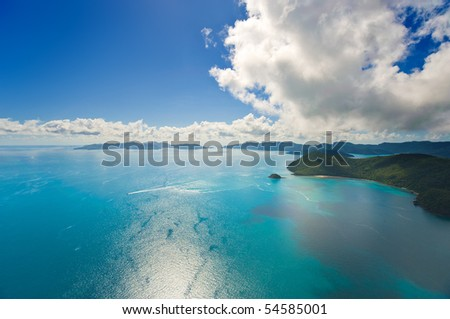 Aerial view of the Whitsunday Islands and brilliant ocean