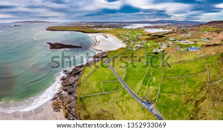 Aerial view of the Wild Atlantic Coastline by Maghery, Dungloe - County Donegal - Ireland. #1352933069