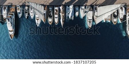 Aerial view of the yacht club. Aerial top-down view of docked sailboats. Top down view of yachts. 3d visualisation Сток-фото ©