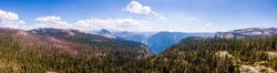 Aerial view of the Yosemite National Park El Capitan and Half Dome cliff view from above.