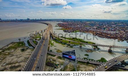 Aerial view of Third Mainland Bridge Lagos Nigeria #1127954885