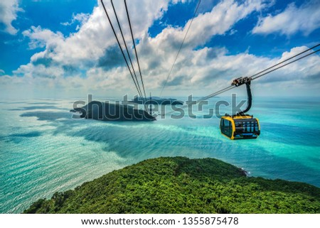Aerial view of Thom island Cable Car is the Famous for connect from Phu Quoc island, Kien Giang, Vietnam.