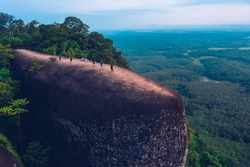 Aerial view of three whales rock or Hin Sam Whales in Phu Sing Country park in Buegkan province, Thailand.