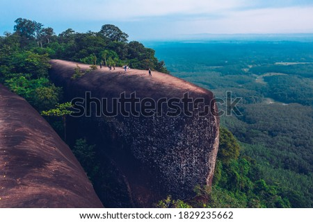 Aerial view of three whales rock or Hin Sam Whales in Phu Sing Country park in Buegkan province, Thailand. Stockfoto ©