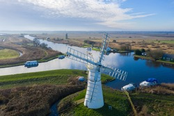Aerial view of Thurne Windmill in Norfolk UK